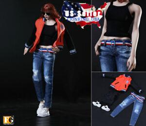 """1//6 Baseball Jacket Jeans Set B For 12/"""" Phicen Hot Toys Female Figure USA SELLER"""