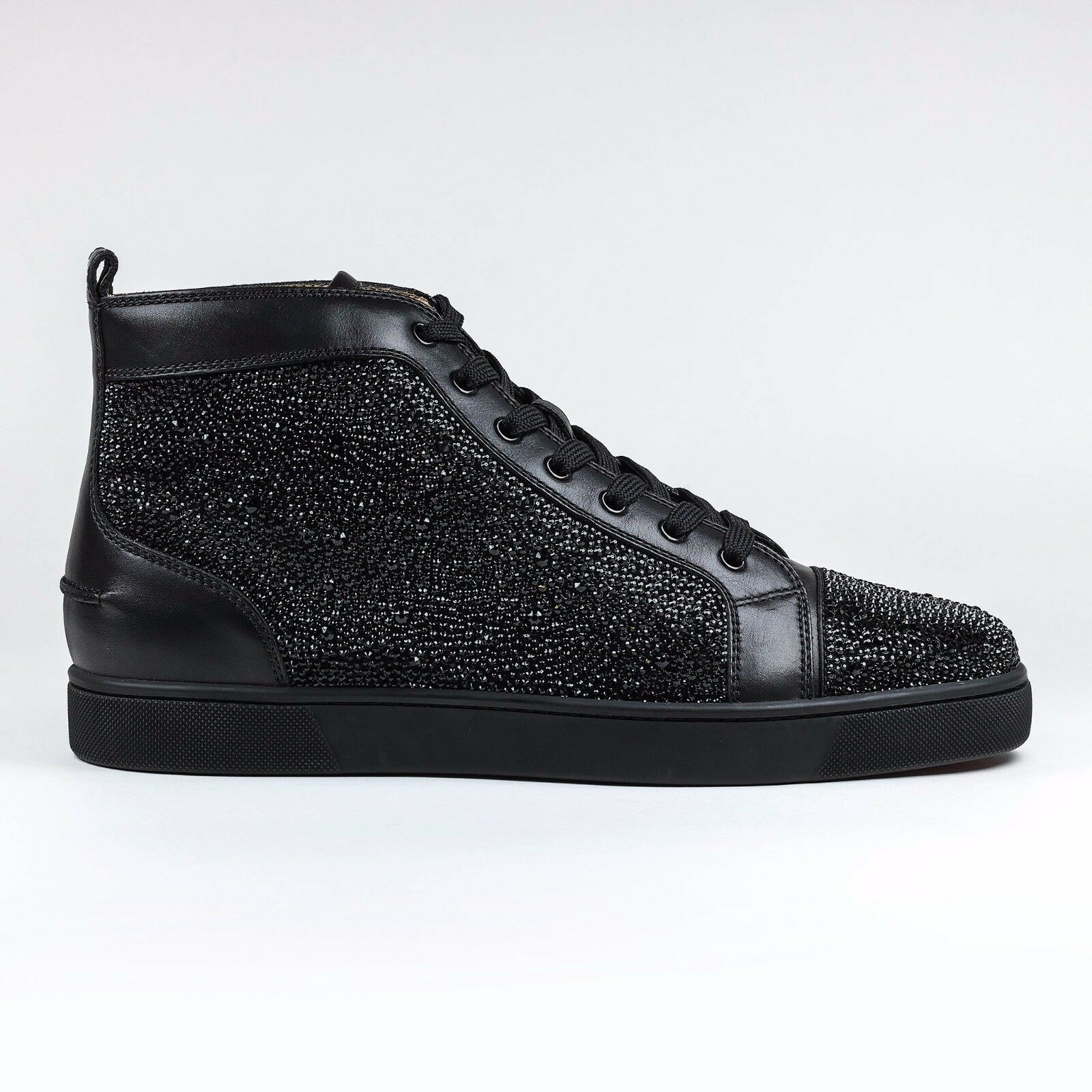 100% Authentic Christian Louboutin Louis Strass Flat Leather Black Sneaker