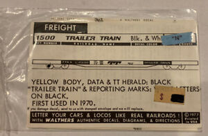 WALTHERS N SCALE DECAL - TRAILER TRAIN / TTX YELLOW FLAT CAR-1970+ #938-1500