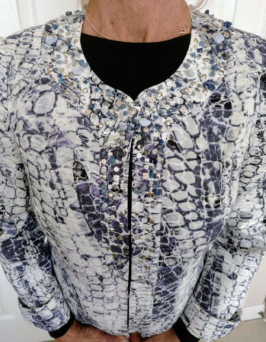 Chico's Lined Sequin Cotton Accents beads Blue 100 Fully W White Jacket amp; FxZwFzYqrP