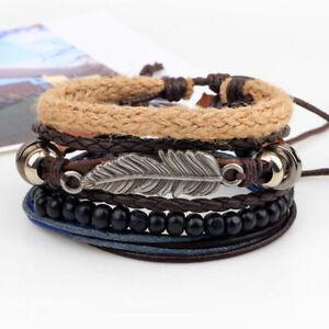 Herren-Flecht-Leder-Edelstahl-Manschette-Armreif-Armband-Armband-Mode