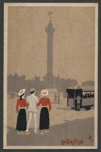 Paris-France-c-1907-Poster-Style-Lithograph-Postcard-Artist-Signed-LA-BASTILLE