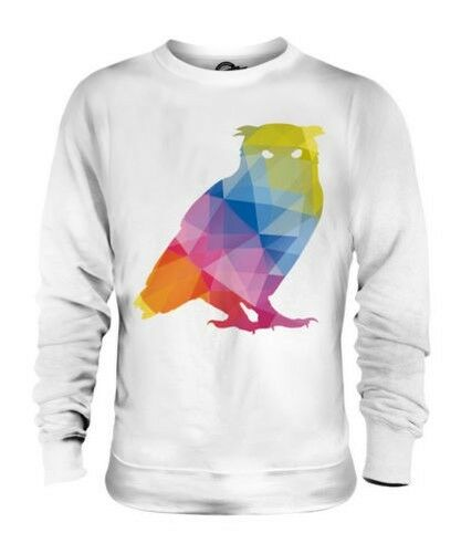 GEOMETRIC PATTERN OWL UNISEX SWEATER TOP GIFT TRIANGLE COLOURFUL