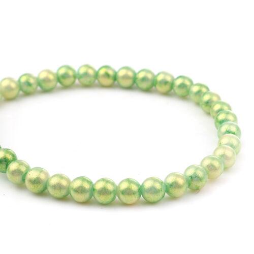 2507 50 Stück Glasperlen 8mm  Glitzer Grün Glas Perlen Beads