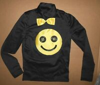 Black Turtleneck Top W/ Smiley Face Unisex Dance Theatrical Musical