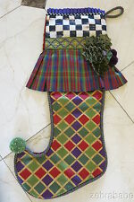 Mackenzie Childs Christmas Stocking w Plaid