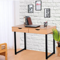 Modern Computer Desk Workstation Table Steel Frame Home Office With 2 Drawers