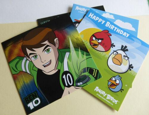 2 Karten Glückwunschkarte Karte Angry Birds o Ben 10 Motivauswahl 15x15cm