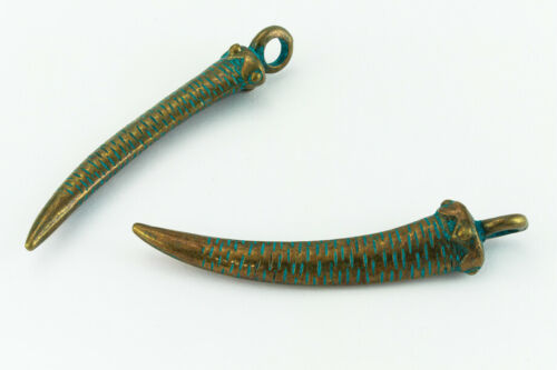 """2.5/"""" Antique Brass//Patina Pewter Tusk #CHA302"""