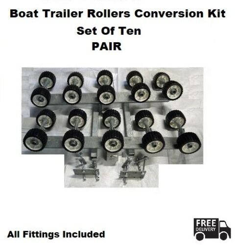 Trailer Roller Conversion - Set Of Ten PAIR - Boat - Universal - COMPLETE KIT