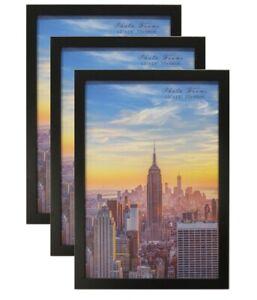 Frame Amo Black Wood Picture Frame or Poster Frame, 3-PACK, 61sizes, Refurbished