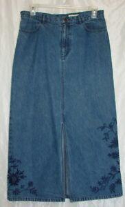 Eddie-Bauer-Size-14-Long-Medium-Wash-Blue-Denim-Floral-Embroidered-Skirt
