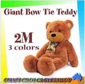 2M-Giant-Huge-Plush-Bow-Tie-Teddy-Bears-Animal-Brown-White-Gift-Present-Big
