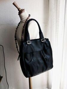 Superbe-sac-cabas-format-A4-en-cuir-de-veau-noir-LE-TANNEUR-excellent-etat