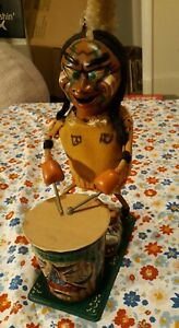 Nutty-Indian-By-Marx-amp-Co-Vintage-Tin-Toy-Broken-For-Parts-Display-Only