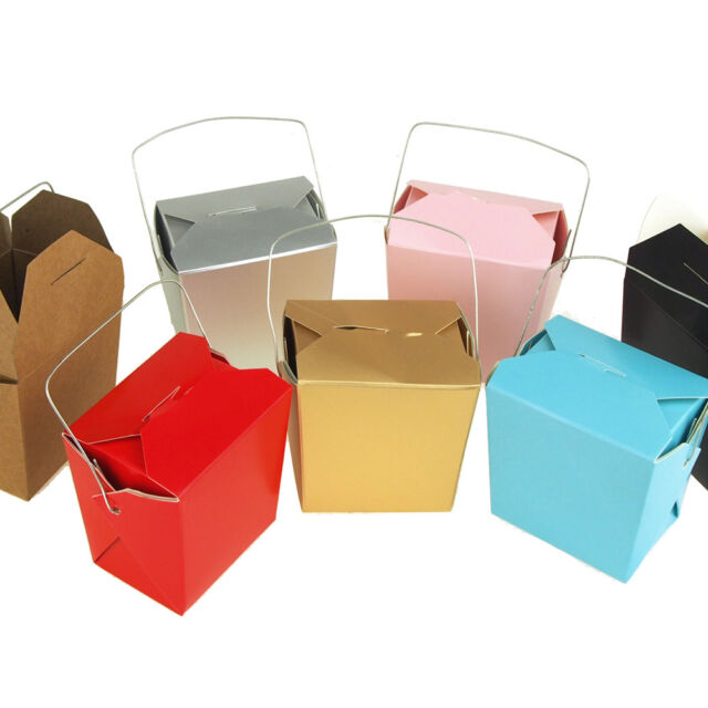 Small, Blue 12-Piece Homeford Take Out Boxes with Wire Handle