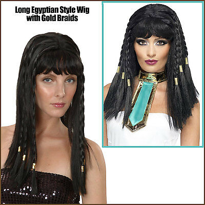 WOMAN LONG STRAIGHT HAIR W// BANGS CLEOPATRA QUEEN OF NILE PRINCESS COSTUME WIG