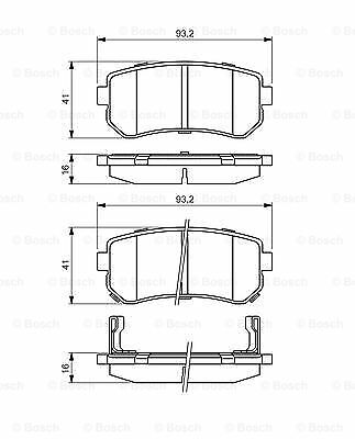 Bosch Brake Pads Set Rear Fits Hyundai ix35 1.7 CRDI UK Bosch Stockist
