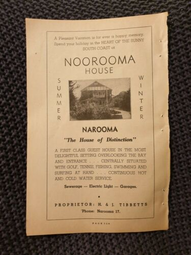 Narooma House 1954 Advertisement