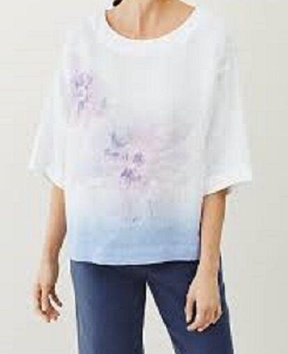 JJill L XL + Top Linen Kimono Sleeve  ROOMY  Painted Floral WaterFarbe NWT