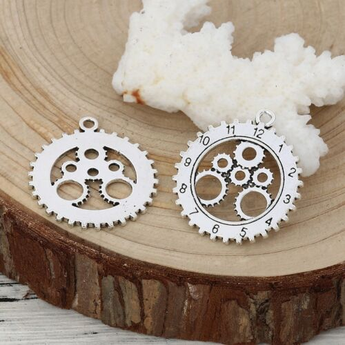 Doctor Who Gear Clock 28mm Antiqued Silver Plated Charms C2818-10 20 Or 50PCs