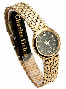Details About Charles Delon One Micron 22k Gold Electro Plated Finish Watch Bracelet With Date