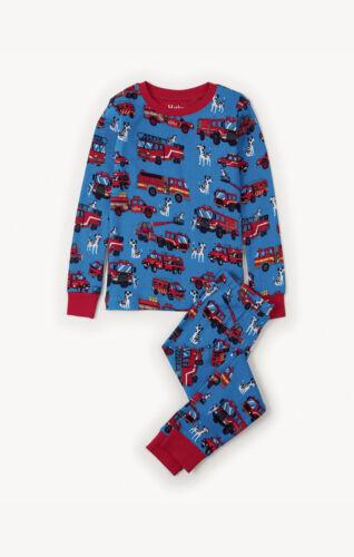 *BNWT* Hatley Boys Fire Trucks All Over Print Blue Pyjamas Cotton Fun Vehicles