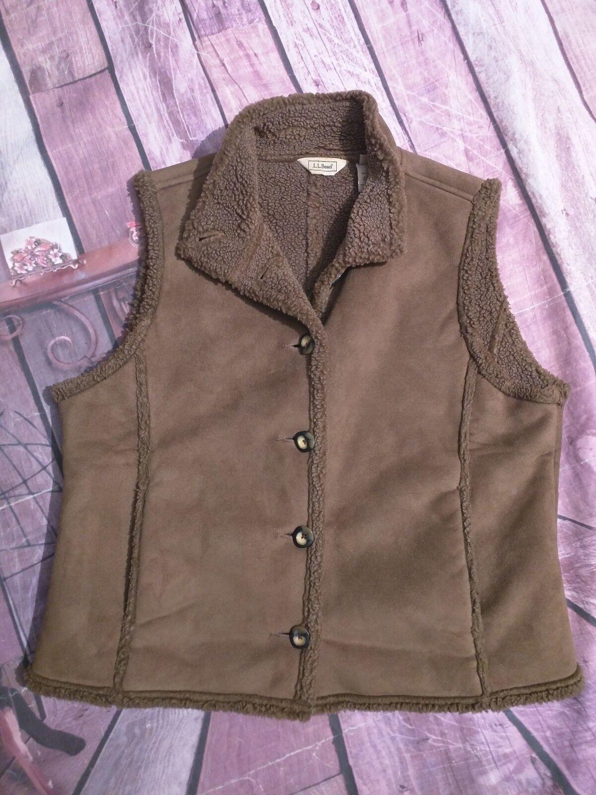 Vintage LL Bean Women's Brown Vest Fleece Lined Size Large