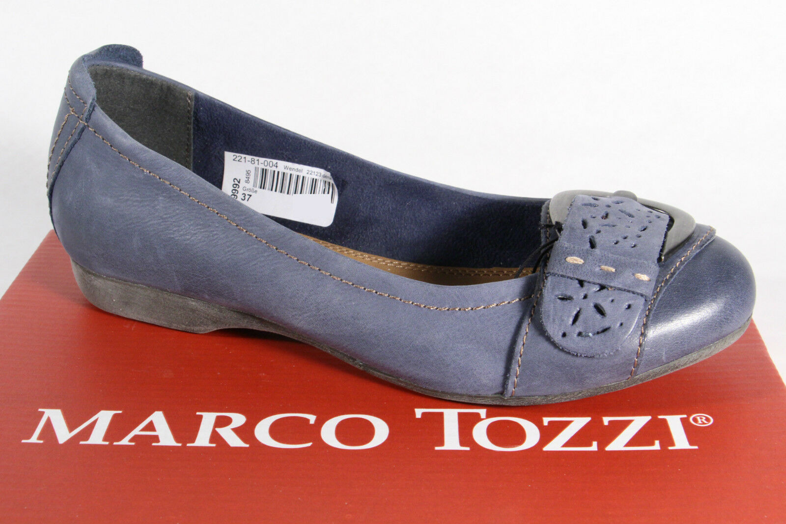 MARCO TOZZI Ballerina Slippers Blue Real Leather NEW
