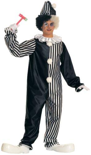 Adult Harlequin Black /& White Clown Costume Unisex Jumpsuit Circus Size Standard