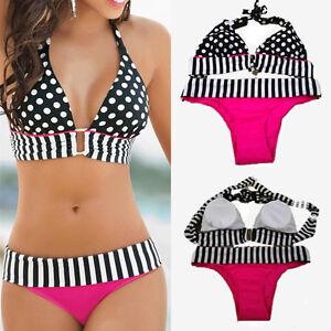 Plus-size-Black-and-White-Stripe-Polka-Dot-Sport-Bikini-set-Swimsuit-Swimwear