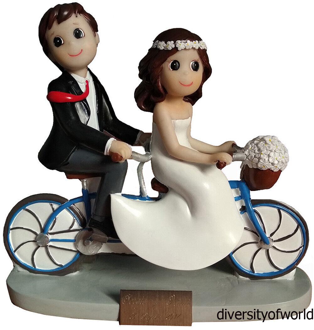 Figura de Boda Novios en Bici para tarta con PLACA GRABADA con...