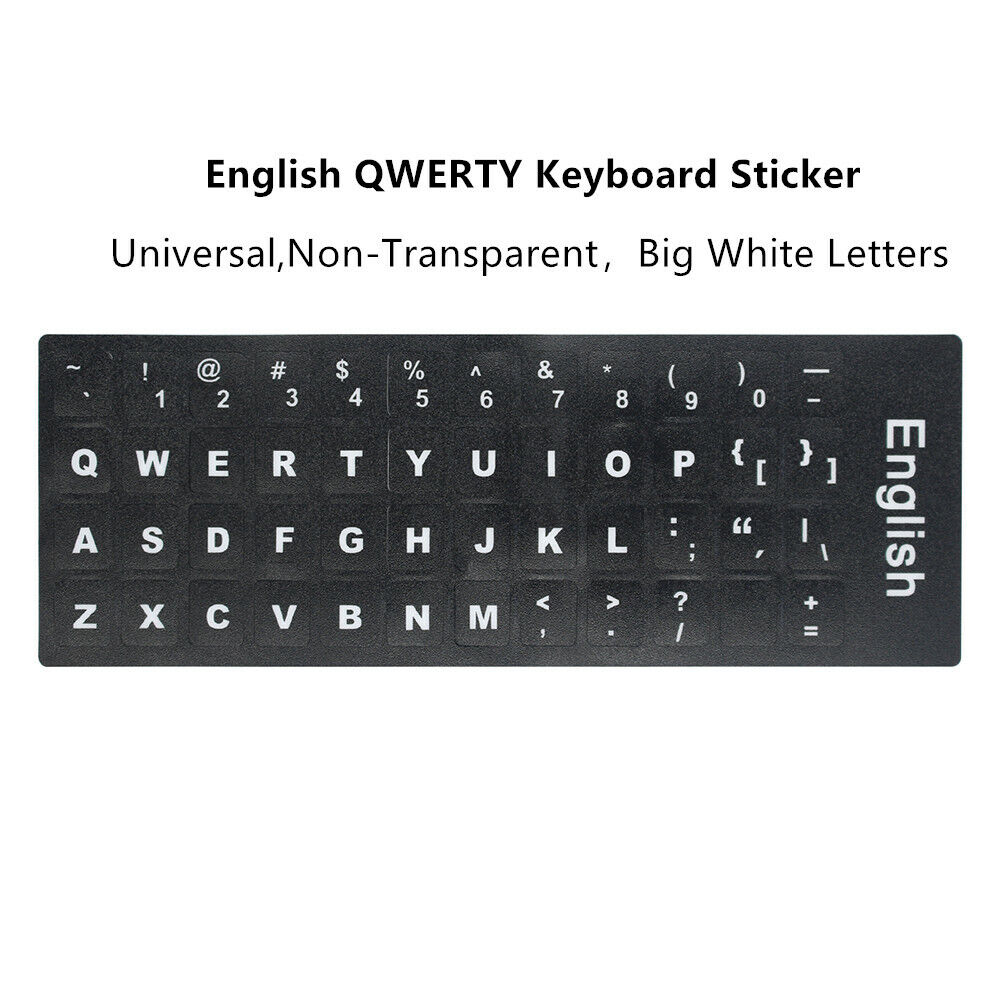 MAC ENGLISH LARGE LETTERING KEYBOARD STICKERS BLACK BACKGROUND