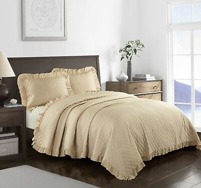 King Beige Modern Farmhouse Bed Acid Wash Ruffle 3 Piece Quilt Set Bedding Ebay