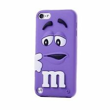 Purple m&m Silicone Rubber Back Case Cover Skin For iPod Touch 6