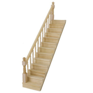 1-12-Dolls-House-Wooden-Staircase-Left-Handrail-Pre-Assembled-WS-D5L2