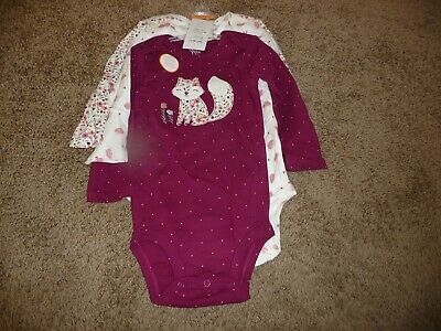 NWT Carter/'s Girls/' Graphic Set of 4 Long Sleeve Body Suits Pink//Gray//White 24 m