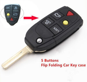 For VOLVO S60 S80 V70 XC70 XC90 Replace Flip Remote Key Shell Key Case Fob 5 BTN
