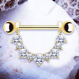Kendall Gold Nipple Bars Nipple Rings Nipple Shields Jewelled
