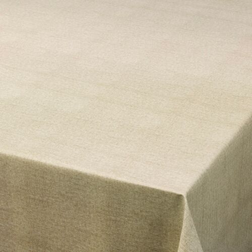 PLAIN HESSIAN TEXTURED BEIGE VINYL WIPE CLEAN PVC TABLECLOTH