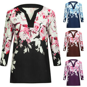 Fashion-Summer-Women-Casual-3-4-Sleeve-Ladies-Shirt-Loose-Tops-Blouse-Plus-Size