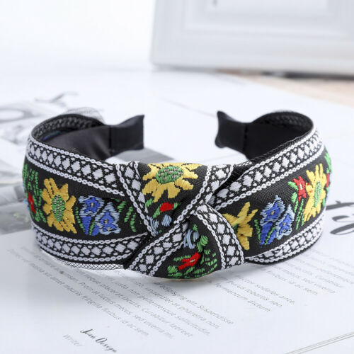 Ladies Embroidery Headband Tie Twist Hairband Wide Alice Hair Band Accessories