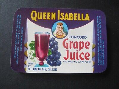 LABELS CA Wholesale Lot of 100 Old Vintage 1940/'s Queen Isabella GRAPE JUICE