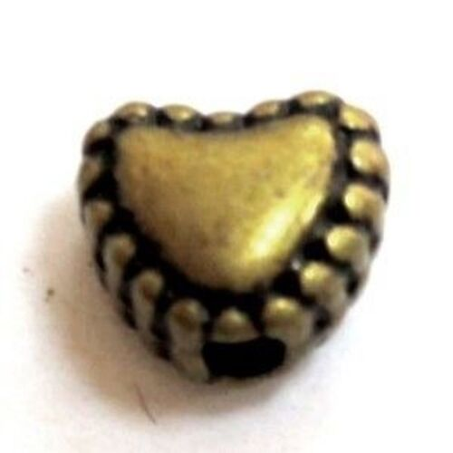 50 pieces Bronze Tone Heart Alloy Spacer Beads A0569