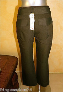 Trousers-Three-Quarter-Pants-Winter-Chocolate-Liliane-H-Size-38-New-Label-Val