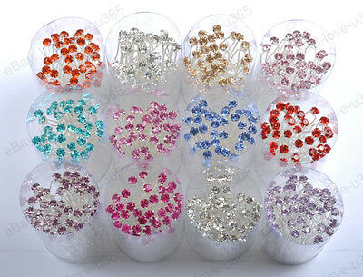 New Bridal Wedding Prom Czech Crystal Rhinestones Hair Pins Hair Sticks Clips