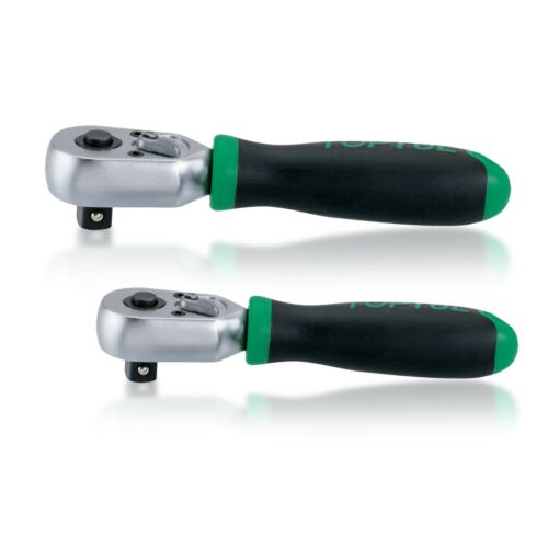 "Toptul 1//4/"" /& 3//8/"" Drive Stubby Reversible Ratchets Soft Grip with Quick Release"
