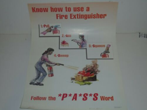 Vintage how to use a fire extinguisher poster vintage safety poster