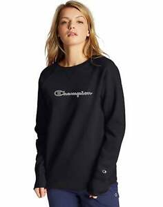Champion Women's Athletics Powerblend Fleece Crew, Chainstitch Logo