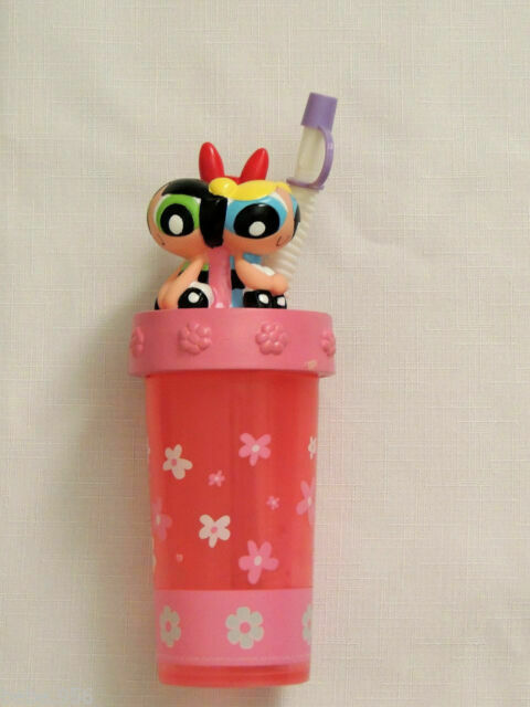 NEW  POWERPUFF GIRLS 3D TUMBLER CUP WITH STRAW